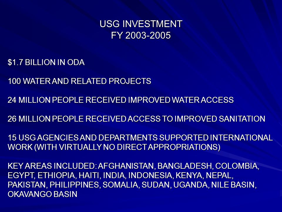 USG INVESTMENT FY 2003-2005 $1.7 BILLION IN ODA 100 WATER AND RELATED PROJECTS 24 MILLION PEOPLE RECEIVED IMPROVED WATER ACCESS 26 MILLION PEOPLE RECEIVED ACCESS TO IMPROVED SANITATION 15 USG AGENCIES AND DEPARTMENTS SUPPORTED INTERNATIONAL WORK (WITH VIRTUALLY NO DIRECT APPROPRIATIONS) KEY AREAS INCLUDED: AFGHANISTAN, BANGLADESH, COLOMBIA, EGYPT, ETHIOPIA, HAITI, INDIA, INDONESIA, KENYA, NEPAL, PAKISTAN, PHILIPPINES, SOMALIA, SUDAN, UGANDA, NILE BASIN, OKAVANGO BASIN
