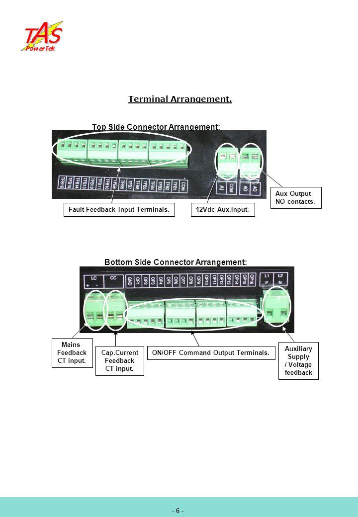 Terminal Arrangement. Top Side Connector Arrangement: Fault Feedback Input Terminals.12Vdc Aux.Input. Aux Output NO contacts. Bottom Side Connector Ar