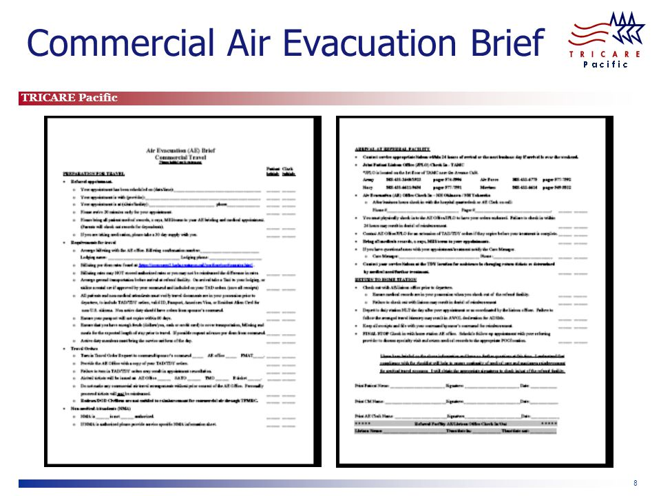 TRICARE Pacific 8 Commercial Air Evacuation Brief