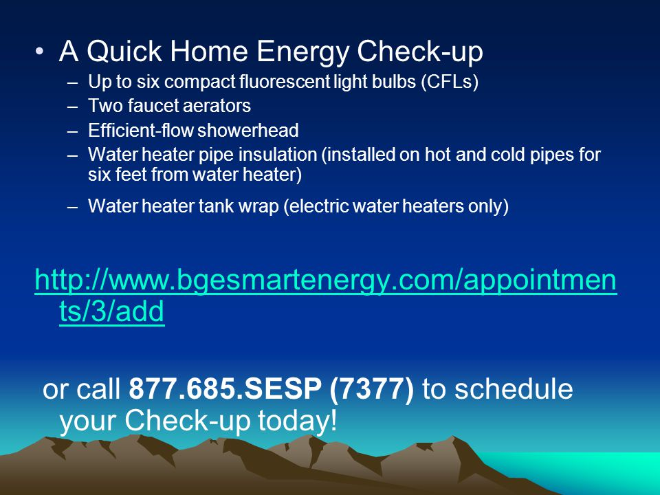A Quick Home Energy Check-up –Up to six compact fluorescent light bulbs (CFLs) –Two faucet aerators –Efficient-flow showerhead –Water heater pipe insu