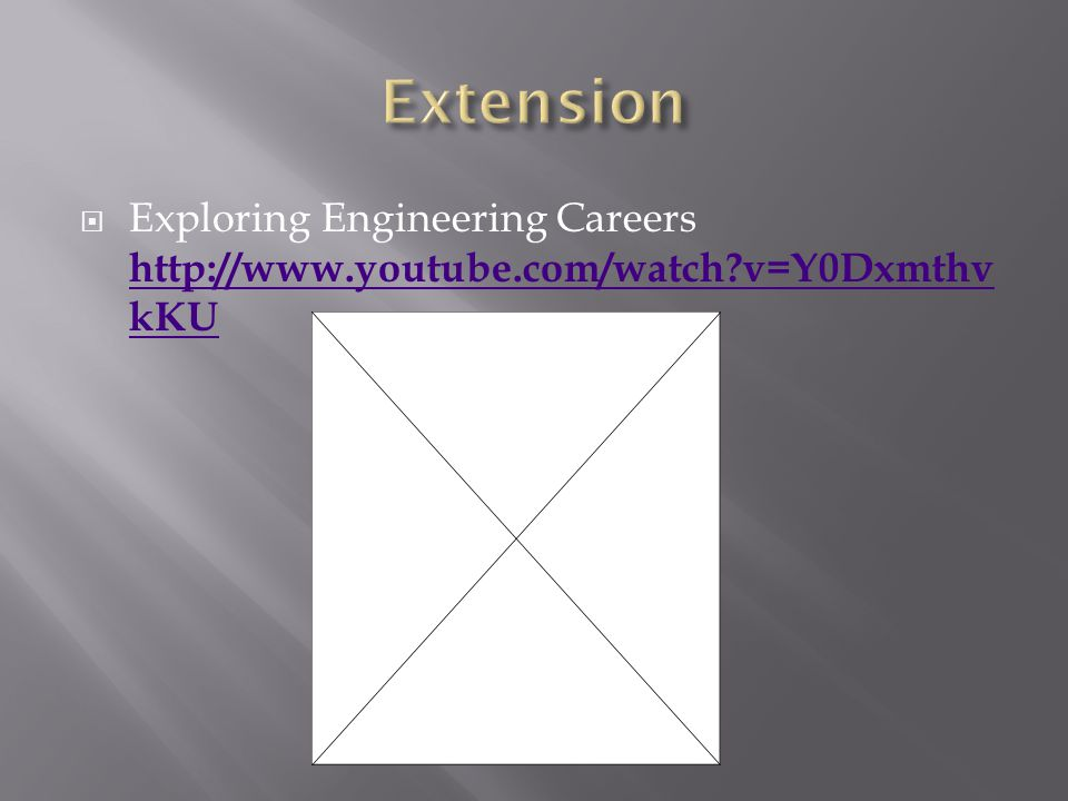 Exploring Engineering Careers http://www.youtube.com/watch v=Y0Dxmthv kKU http://www.youtube.com/watch v=Y0Dxmthv kKU