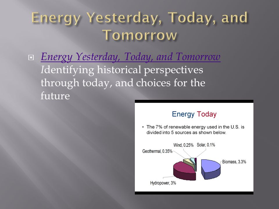 Energy Yesterday, Today, and Tomorrow I dentifying historical perspectives through today, and choices for the future Energy Yesterday, Today, and Tomorrow