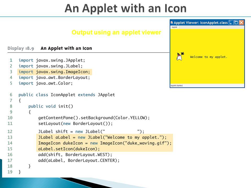 Output using an applet viewer