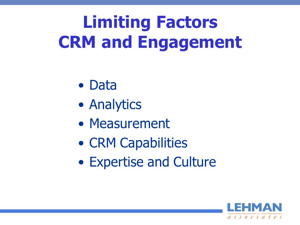 Limiting Factors CRM and Engagement Data Analytics Measurement CRM Capabilities Expertise and Culture