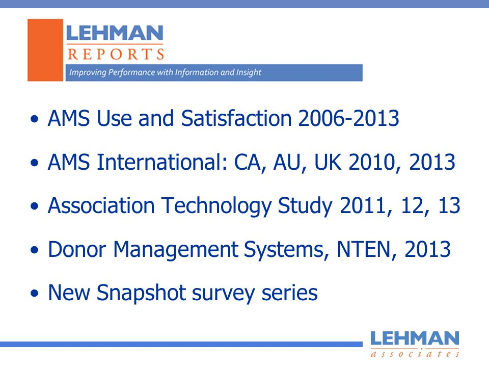 AMS Use and Satisfaction AMS International: CA, AU, UK 2010, 2013 Association Technology Study 2011, 12, 13 Donor Management Systems, NTEN, 2013 New Snapshot survey series