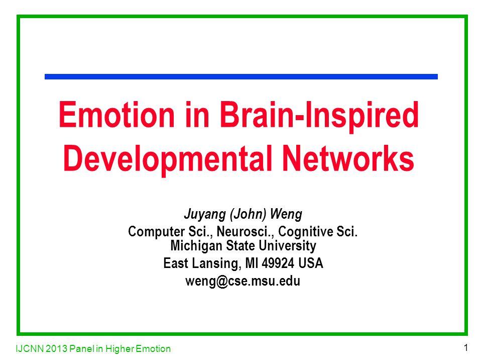 IJCNN 2013 Panel in Higher Emotion 22 Serotonin System