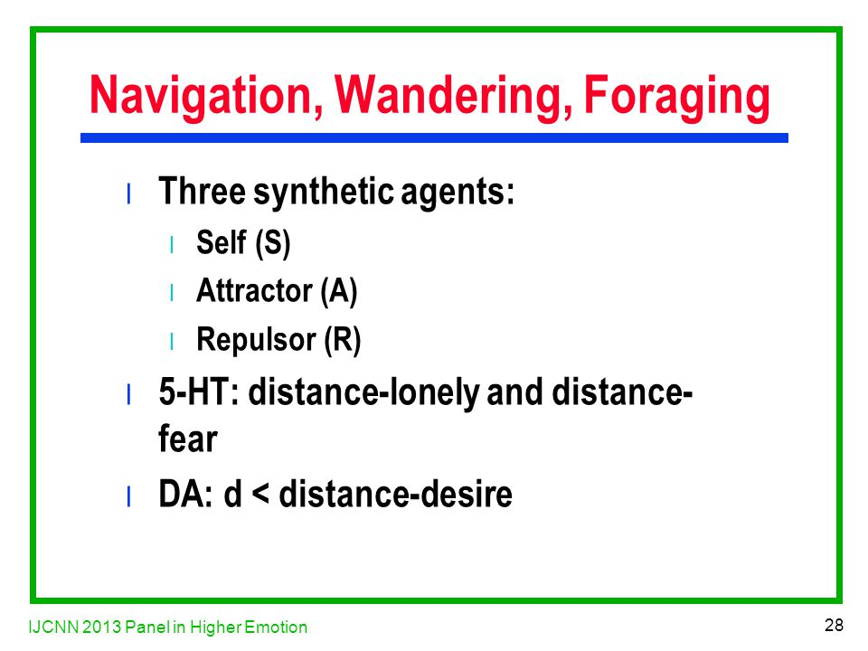 IJCNN 2013 Panel in Higher Emotion 28 Navigation, Wandering, Foraging l Three synthetic agents: l Self (S) l Attractor (A) l Repulsor (R) l 5-HT: distance-lonely and distance- fear l DA: d < distance-desire