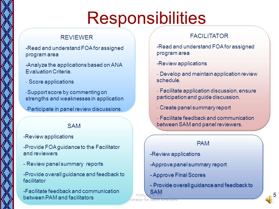 Responsibilities Produced by the Administration for Native Americans 5 REVIEWER -Read and understand FOA for assigned program area -Analyze the applications based on ANA Evaluation Criteria.