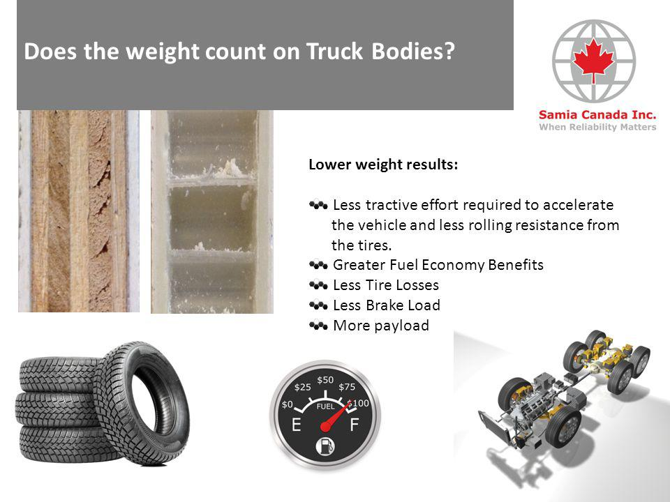Does the weight count on Truck Bodies? Reducing Weight = Saving Costs www.samia-canada.com