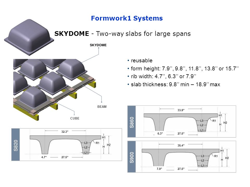 SKYDOME - Two-way slabs for large spans reusable form height: 7.9, 9.8, 11.8, 13.8 or 15.7 rib width: 4.7, 6.3 or 7.9 slab thickness: 9.8 min – 18.9 max 33.9 6.327.5 4.7 32.3 35.4 7.9 Formwork1 Systems CUBE BEAM