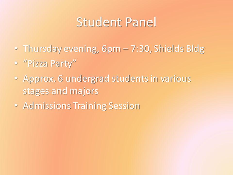 Student Panel Thursday evening, 6pm – 7:30, Shields Bldg Thursday evening, 6pm – 7:30, Shields Bldg Pizza Party Pizza Party Approx. 6 undergrad studen