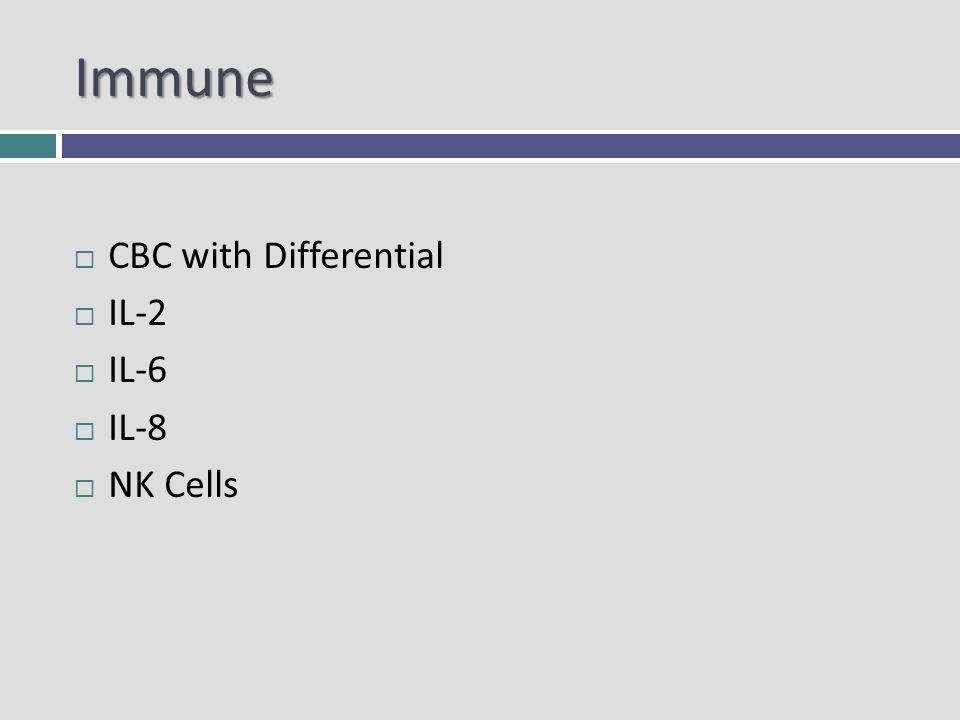 Immune CBC with Differential IL-2 IL-6 IL-8 NK Cells