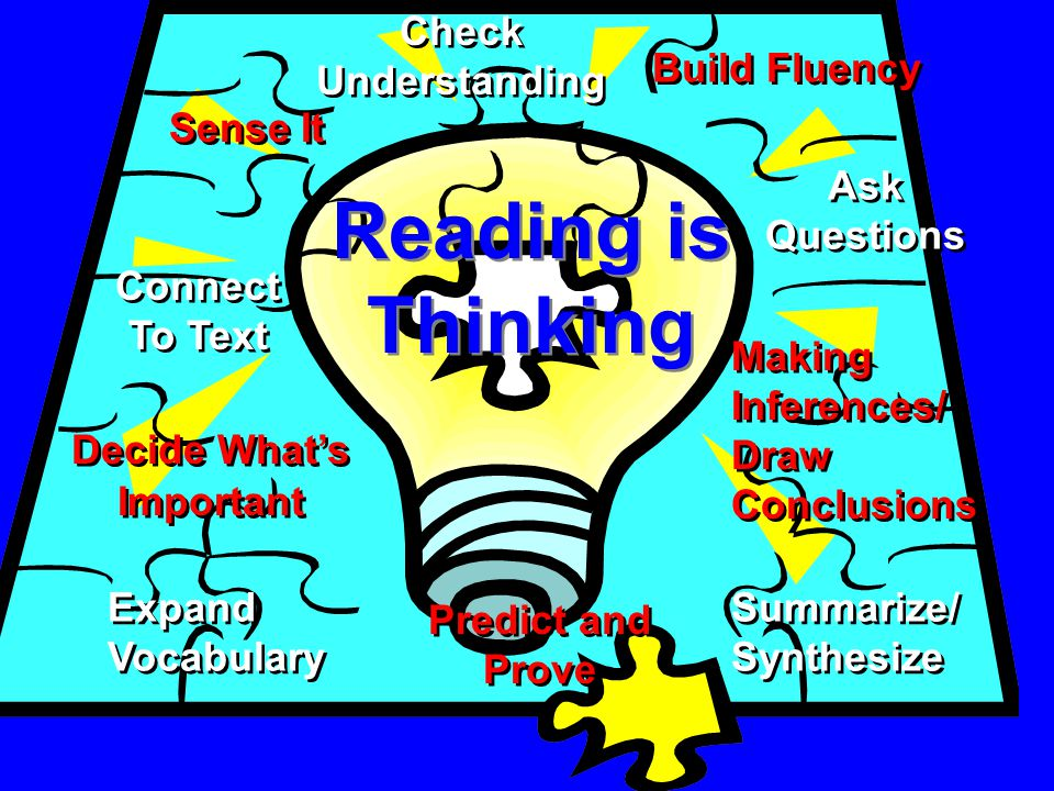 Reading is Thinking Sense It Making Inferences/ Draw Conclusions Connect To Text Ask Questions Summarize/ Synthesize Decide Whats Important Build Fluency Expand Vocabulary Predict and Prove Check Understanding