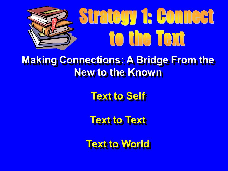 Making Connections: A Bridge From the New to the Known Text to Self Text to Text Text to World Making Connections: A Bridge From the New to the Known