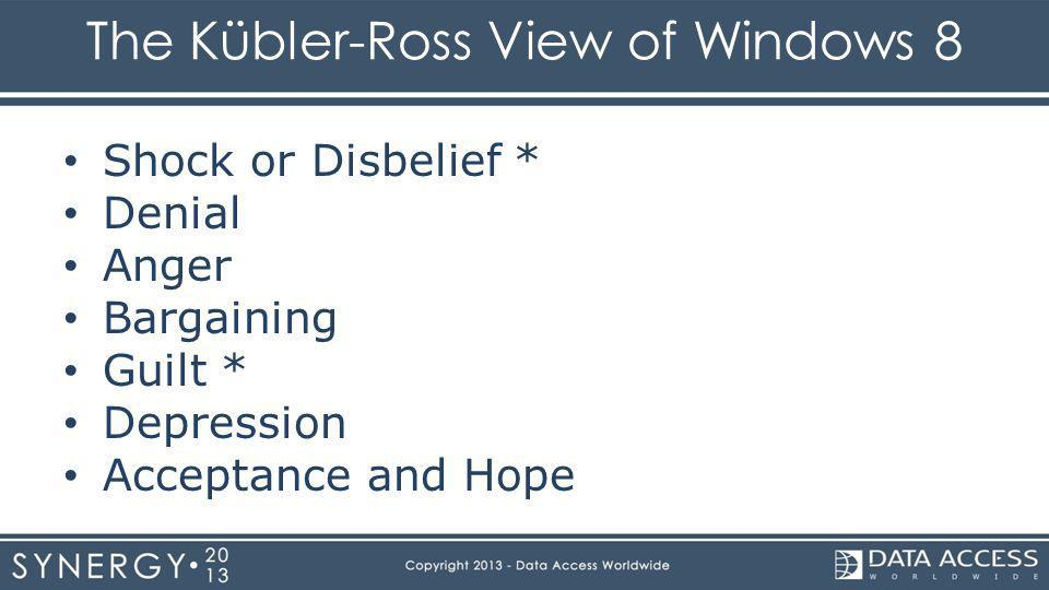 The Kübler-Ross View of Windows 8 Shock or Disbelief * Denial Anger Bargaining Guilt * Depression Acceptance and Hope