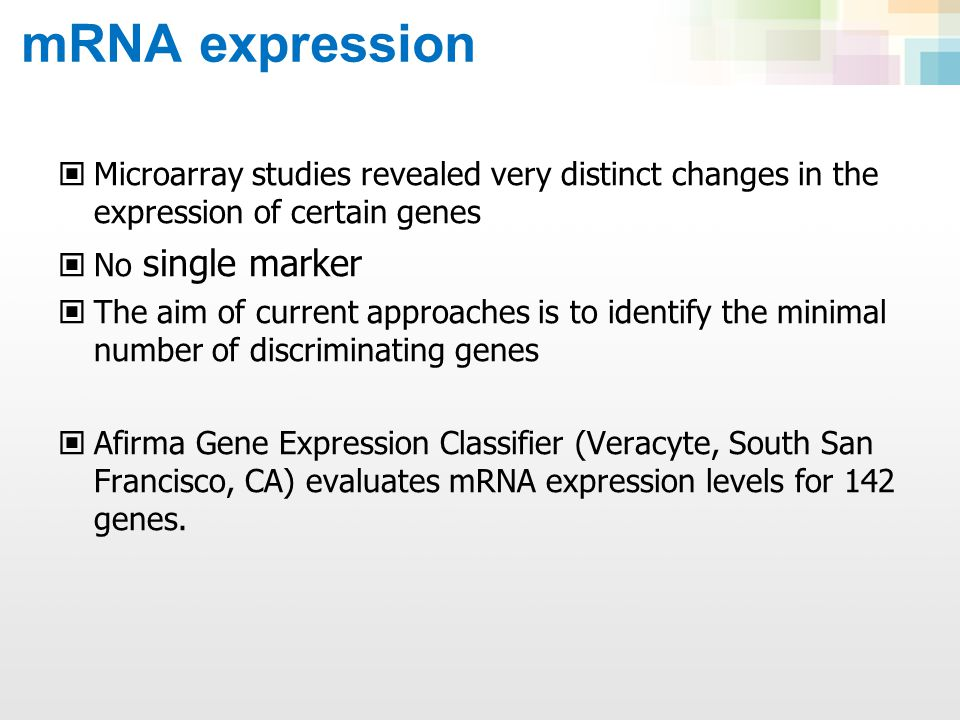 Gene Expression Classifier A gene-expression classifier was used to test 265 indeterminate nodules Sensitivity 92% Specificity 52% Negative predictive values AUS 95% Follicular neoplasm94% Suspicious 85% N Engl J Med 2012;367:705-15 A prospective, multicenter validation study involving 49 clinical centers in the USA: 4,812 FNAs from 3789 patients with thyroid nodules 1 cm in diameter over a 19-month period