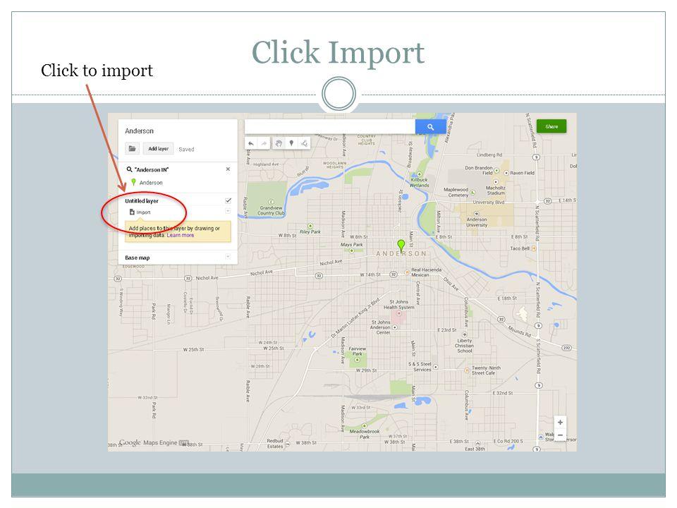 Click Import Click to import