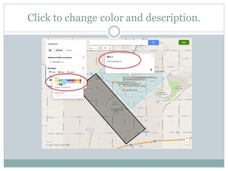 Click to change color and description.