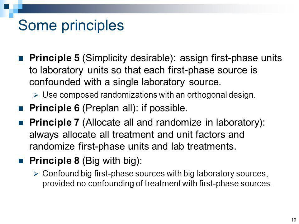 Some principles Principle 5 (Simplicity desirable): assign first-phase units to laboratory units so that each first-phase source is confounded with a