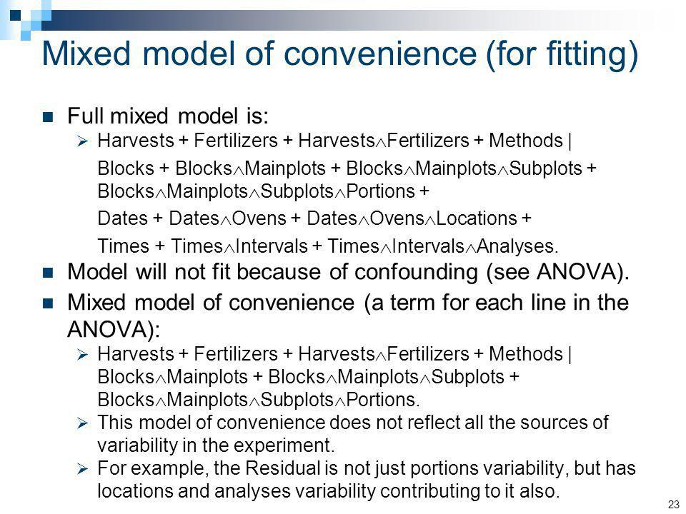 Mixed model of convenience (for fitting) Full mixed model is: Harvests + Fertilizers + Harvests Fertilizers + Methods | Blocks + Blocks Mainplots + Bl