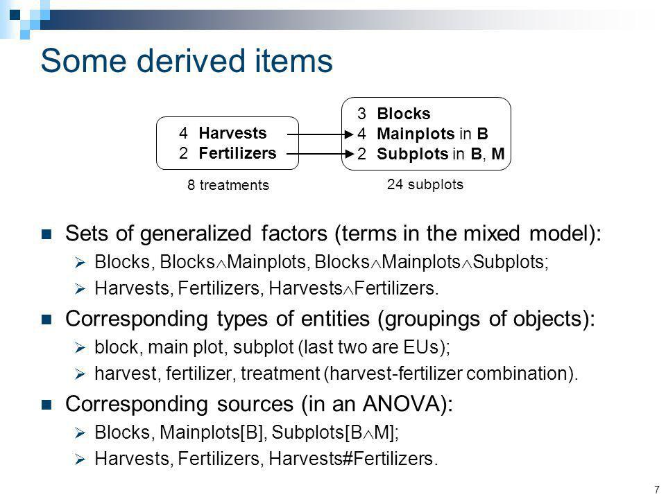 Some derived items Sets of generalized factors (terms in the mixed model): Blocks, Blocks Mainplots, Blocks Mainplots Subplots; Harvests, Fertilizers,
