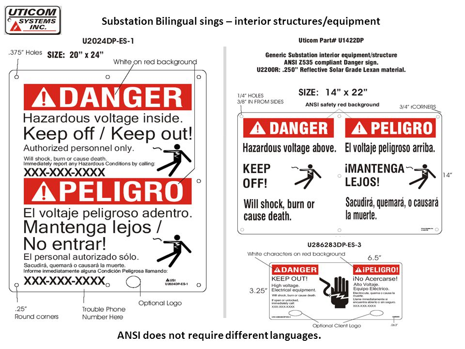 Substation Bilingual sings – interior structures/equipment ANSI does not require different languages.
