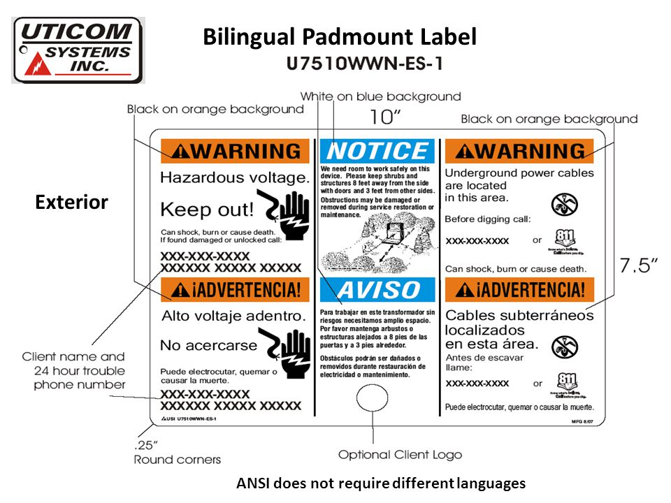 Bilingual Padmount Label Exterior ANSI does not require different languages