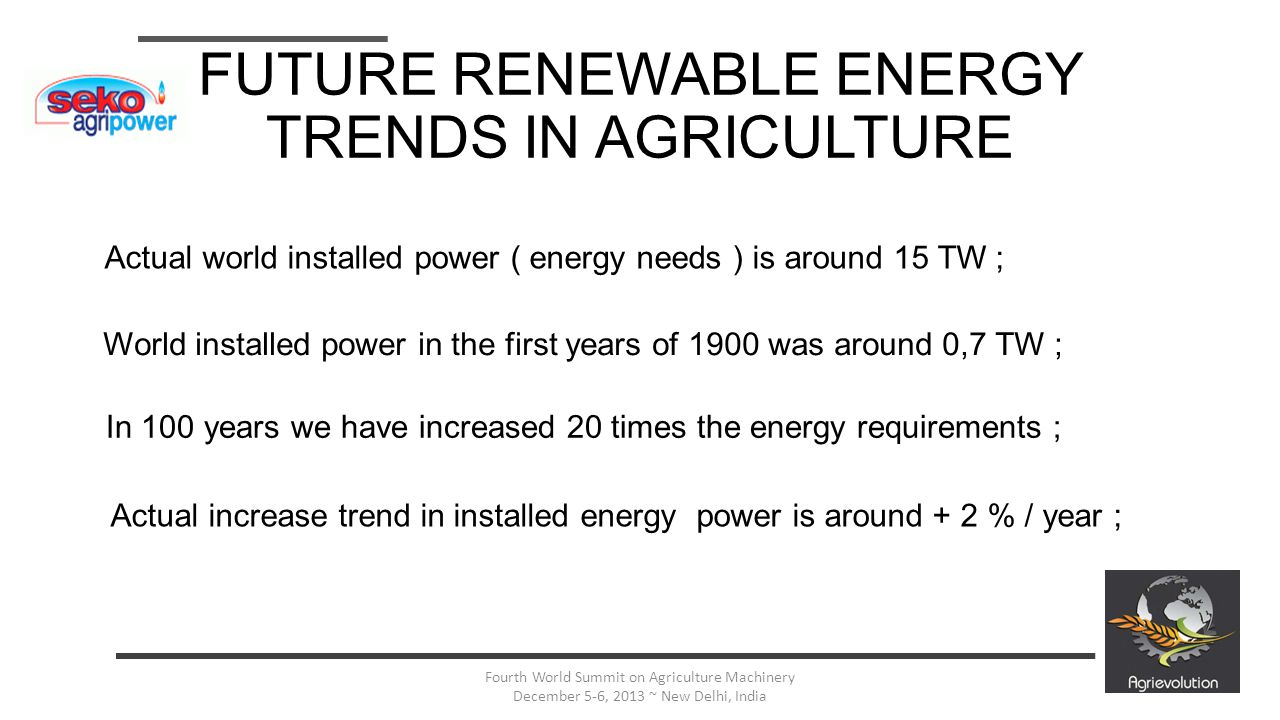 3 Fourth World Summit on Agriculture Machinery December 5-6, 2013 ~ New Delhi, India FUTURE RENEWABLE ENERGY TRENDS IN AGRICULTURE