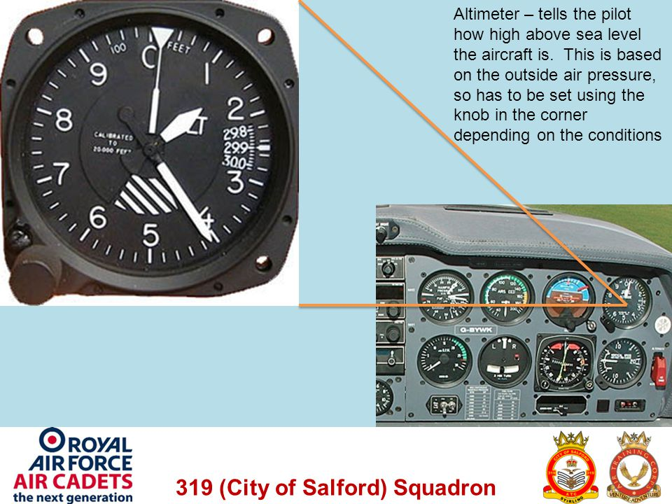 319 (City of Salford) Squadron Altimeter – tells the pilot how high above sea level the aircraft is. This is based on the outside air pressure, so has