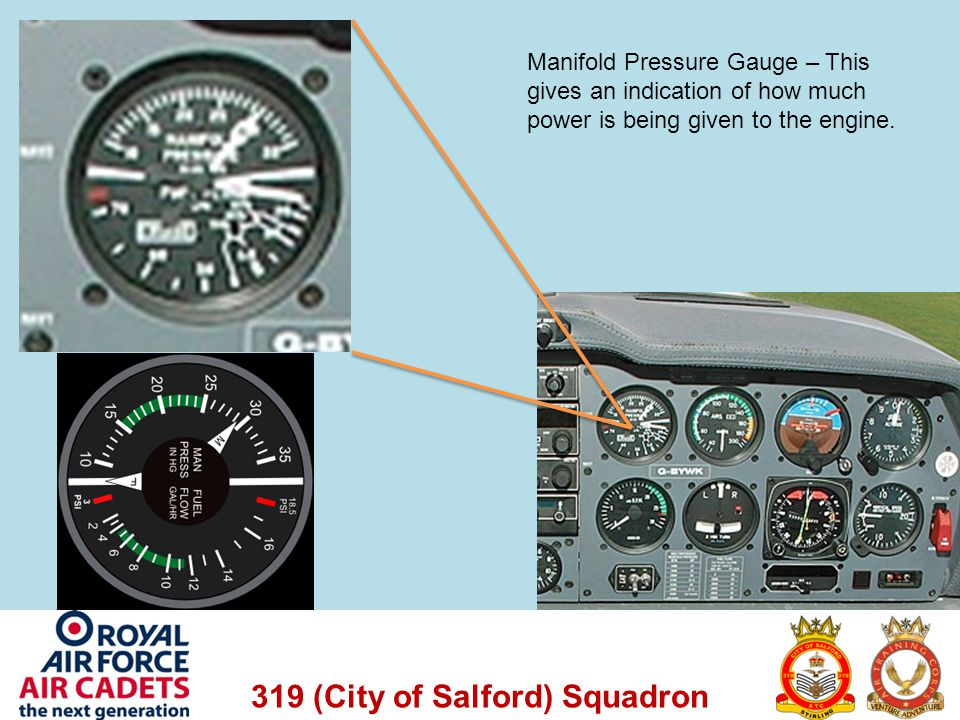 319 (City of Salford) Squadron Manifold Pressure Gauge – This gives an indication of how much power is being given to the engine.