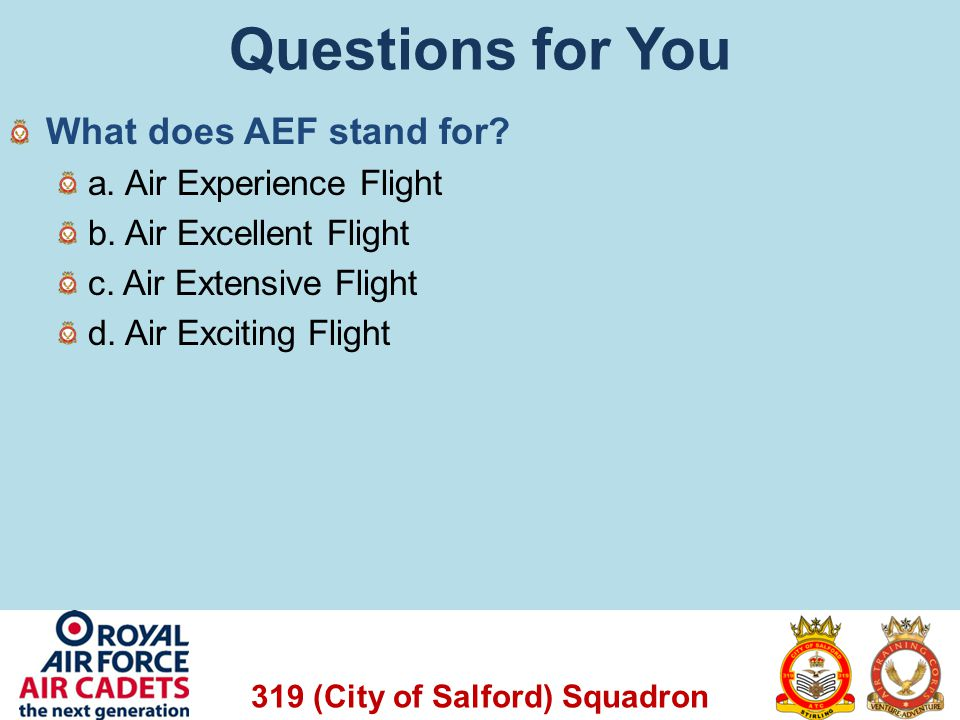 319 (City of Salford) Squadron Questions for You What does AEF stand for? a. Air Experience Flight b. Air Excellent Flight c. Air Extensive Flight d.