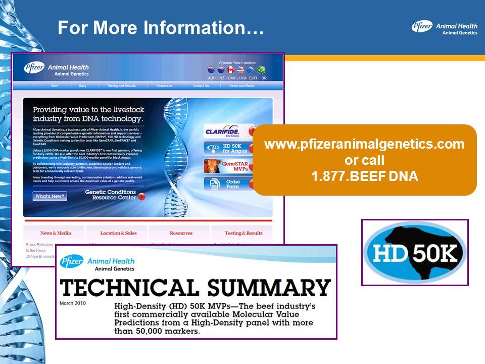 For More Information… www.pfizeranimalgenetics.com or call 1.877.BEEF DNA