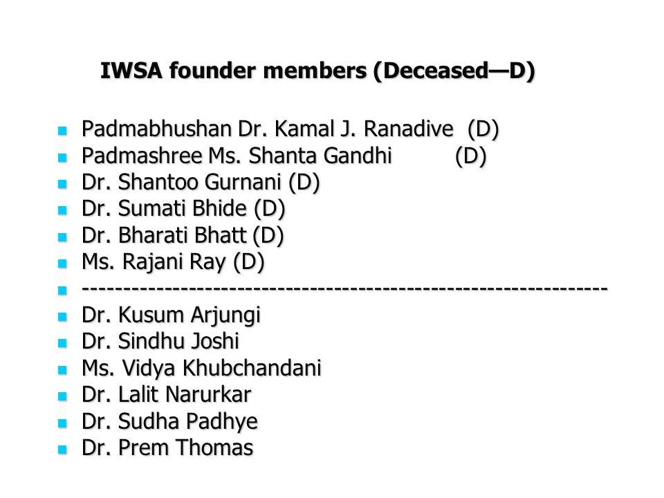 IWSA founder members (DeceasedD) Padmabhushan Dr. Kamal J. Ranadive (D) Padmabhushan Dr. Kamal J. Ranadive (D) Padmashree Ms. Shanta Gandhi(D) Padmash