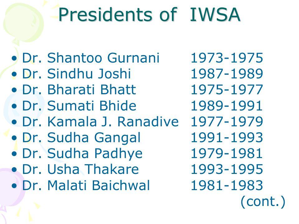 Presidents of IWSA Dr. Shantoo Gurnani 1973-1975 Dr. Sindhu Joshi1987-1989 Dr. Bharati Bhatt1975-1977 Dr. Sumati Bhide1989-1991 Dr. Kamala J. Ranadive