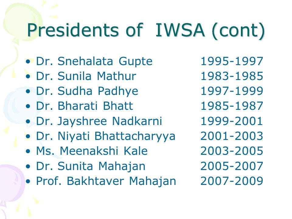 Dr. Snehalata Gupte1995-1997 Dr. Sunila Mathur1983-1985 Dr. Sudha Padhye1997-1999 Dr. Bharati Bhatt1985-1987 Dr. Jayshree Nadkarni1999-2001 Dr. Niyati