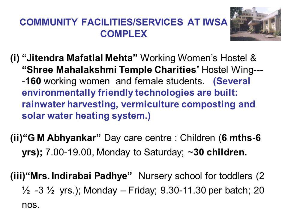 (i) Jitendra Mafatlal Mehta Working Womens Hostel & Shree Mahalakshmi Temple Charities Hostel Wing--- -160 working women and female students. (Several