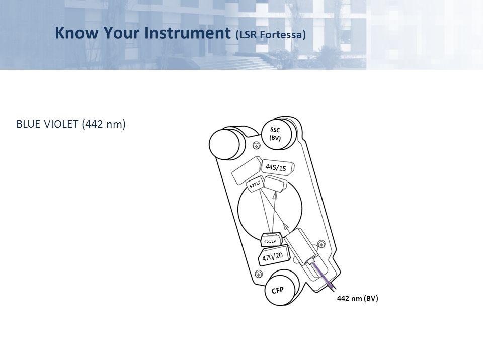 Know Your Instrument (LSR Fortessa) 445/15 470/20 577LP 455LP SSC (BV) CFP 442 nm (BV) BLUE VIOLET (442 nm)