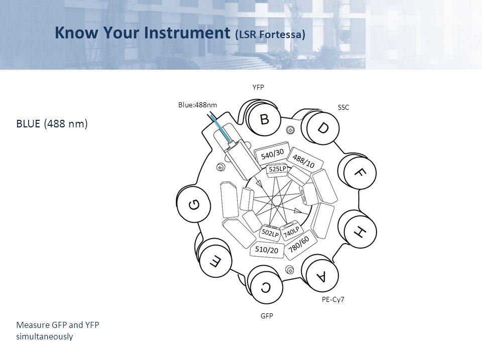 Know Your Instrument (LSR Fortessa) Blue:488nm GFP 510/20 780/60 540/30 488/10 502LP 740LP 525LP PE-Cy7 YFP SSC BLUE (488 nm) Measure GFP and YFP simu