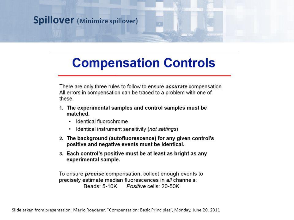 Spillover (Minimize spillover) Slide taken from presentation: Mario Roederer, Compensation: Basic Principles, Monday, June 20, 2011