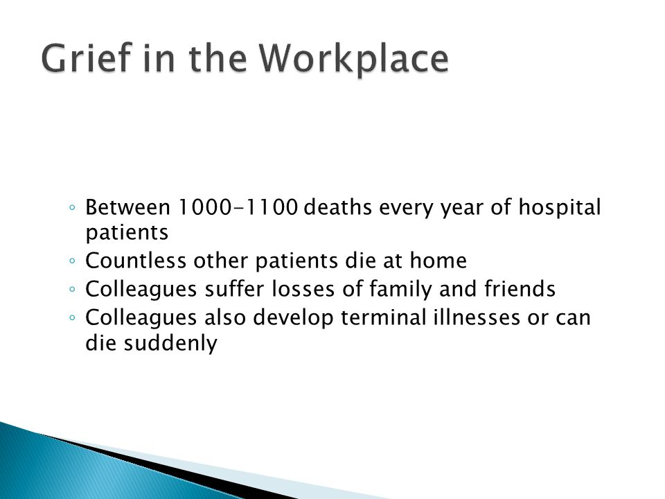 Between 1000-1100 deaths every year of hospital patients Countless other patients die at home Colleagues suffer losses of family and friends Colleagues also develop terminal illnesses or can die suddenly