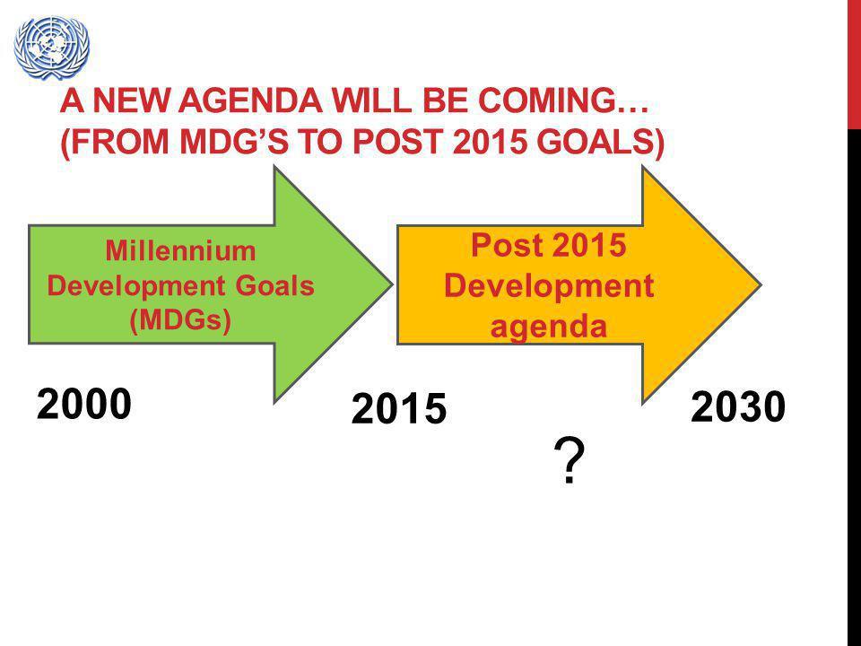 A NEW AGENDA WILL BE COMING… (FROM MDGS TO POST 2015 GOALS) Millennium Development Goals (MDGs) Post 2015 Development agenda 2000 2015 2030 ?
