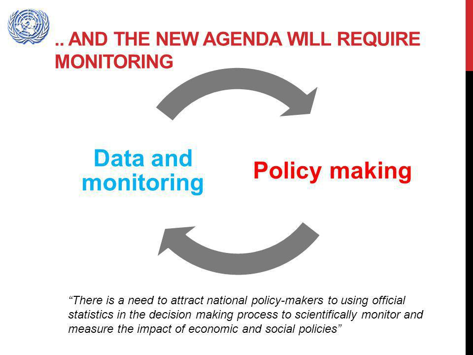 .. AND THE NEW AGENDA WILL REQUIRE MONITORING Policy making Data and monitoring There is a need to attract national policy-makers to using official st