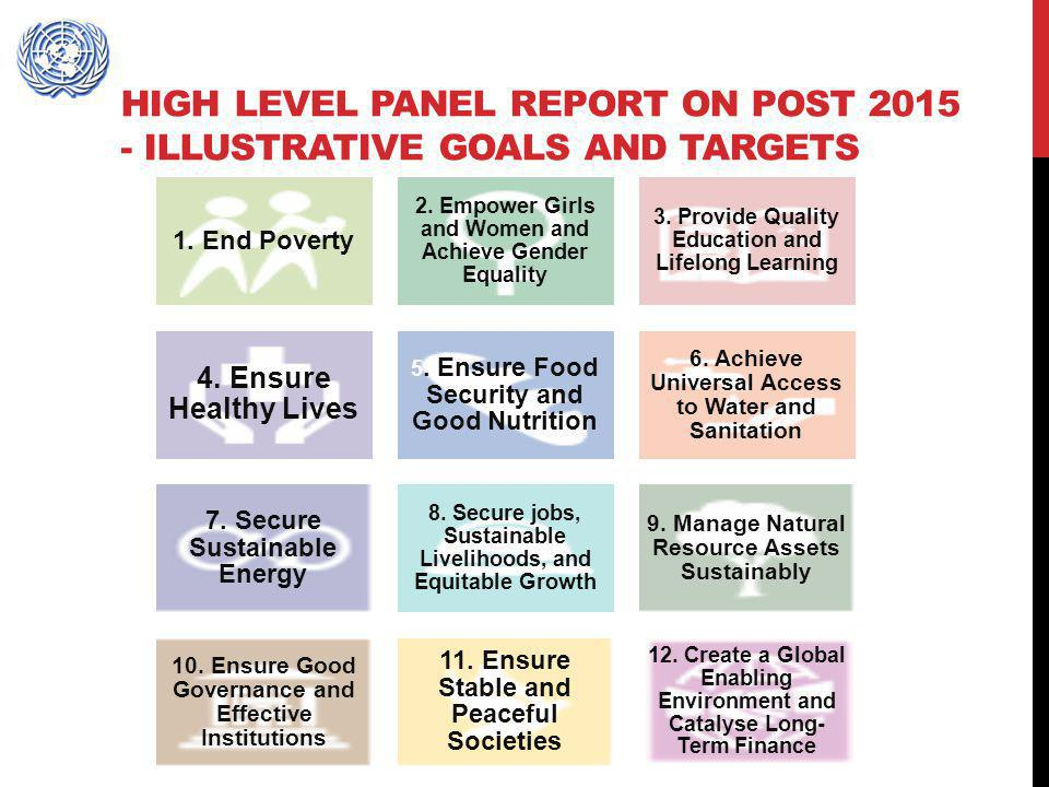 HIGH LEVEL PANEL REPORT ON POST 2015 - ILLUSTRATIVE GOALS AND TARGETS 1. End Poverty 2. Empower Girls and Women and Achieve Gender Equality 3. Provide