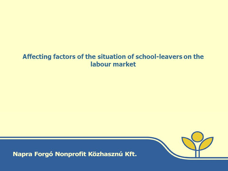 Affecting factors of the situation of school-leavers on the labour market