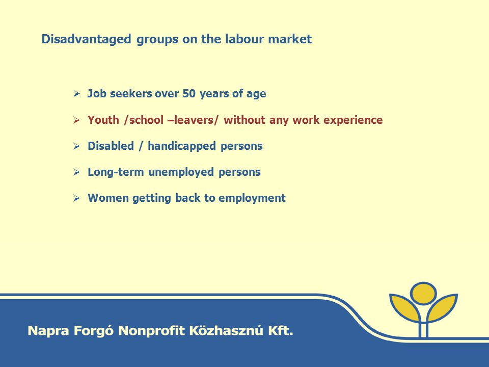 Disadvantaged groups on the labour market Job seekers over 50 years of age Youth /school –leavers/ without any work experience Disabled / handicapped persons Long-term unemployed persons Women getting back to employment
