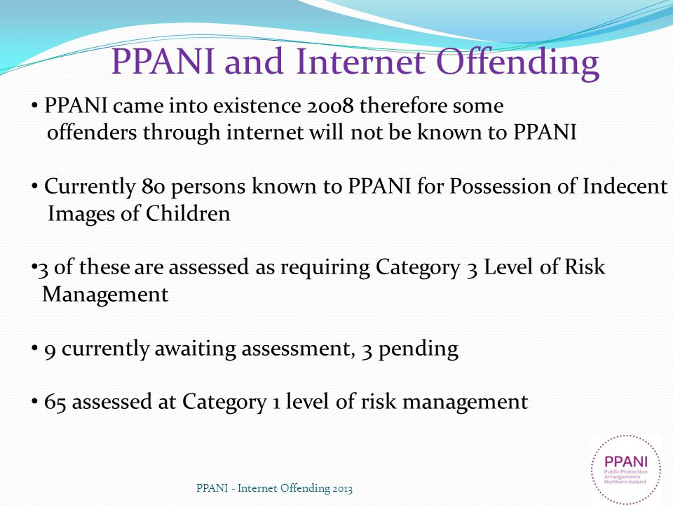 PPANI and Internet Offending PPANI came into existence 2008 therefore some offenders through internet will not be known to PPANI Currently 80 persons