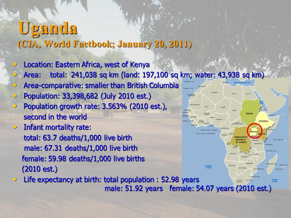 Uganda (CIA, World Factbook; January 20, 2011) Location: Eastern Africa, west of Kenya Location: Eastern Africa, west of Kenya Area: total: 241,038 sq km (land: 197,100 sq km; water: 43,938 sq km) Area: total: 241,038 sq km (land: 197,100 sq km; water: 43,938 sq km) Area-comparative: smaller than British Columbia Area-comparative: smaller than British Columbia Population: 33,398,682 (July 2010 est.) Population: 33,398,682 (July 2010 est.) Population growth rate: 3.563% (2010 est.), Population growth rate: 3.563% (2010 est.), second in the world Infant mortality rate: Infant mortality rate: total: 63.7 deaths/1,000 live birth male: deaths/1,000 live birth male: deaths/1,000 live birth female: deaths/1,000 live births female: deaths/1,000 live births (2010 est.) (2010 est.) Life expectancy at birth: total population : years male: years female: years (2010 est.) Life expectancy at birth: total population : years male: years female: years (2010 est.)