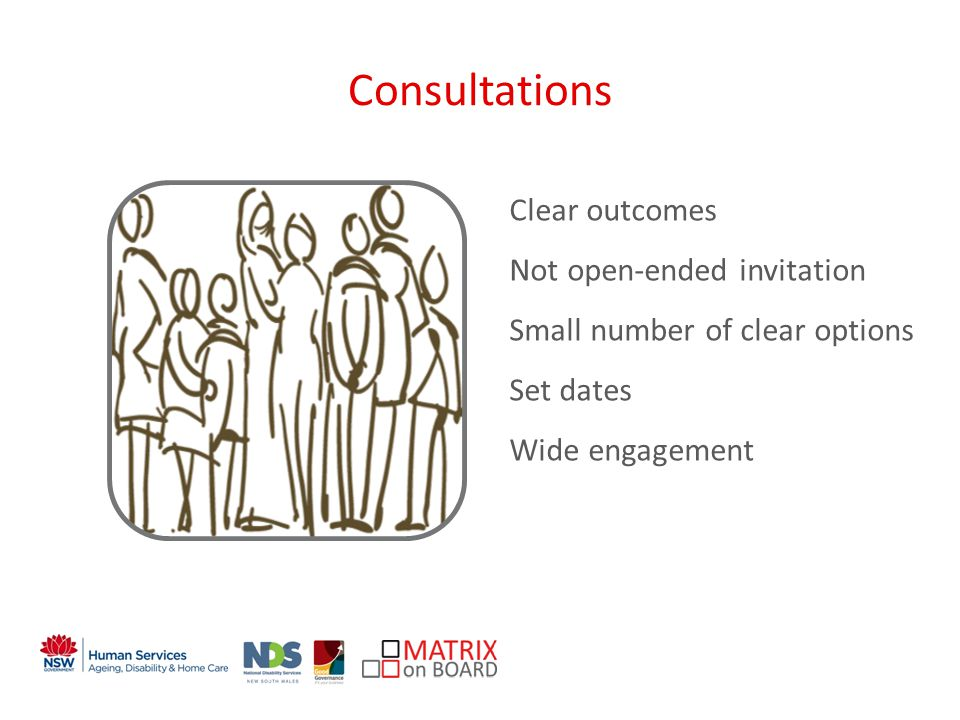 An initiative of the NSW Government Consultations Clear outcomes Not open-ended invitation Small number of clear options Set dates Wide engagement