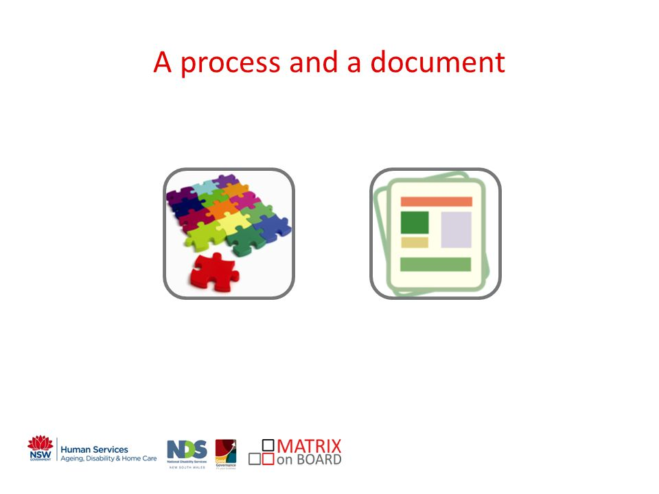 An initiative of the NSW Government A process and a document
