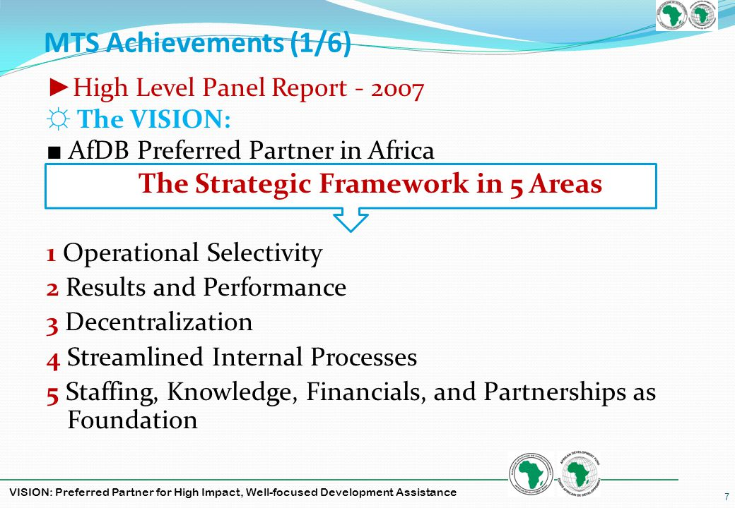 VISION: Preferred Partner for High Impact, Well-focused Development Assistance MTS Achievements (2/6) Core Priorities Set Out in MTS Infrastructure Governance Private Sector Higher Education Regional Integration Fragile States MICs Agriculture Gender Environment Climate Change Knowledge Management Sector focus Special applicability to… Cross-cutting